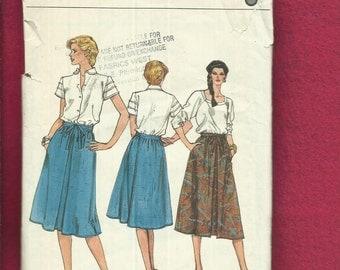 1970's Vogue 8209 Gathered Back Wrap Skirt  Size 12..14..16