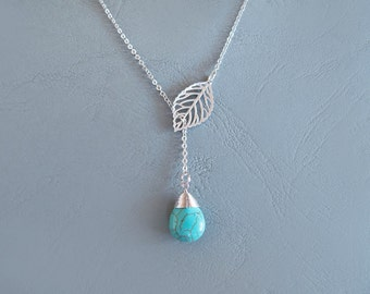 Leaf with Turquoise Pendant Lariat Necklace - Silver Mint Necklace
