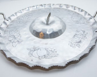 Cromwell Hammered Aluminum Fruit Themed Serving Tray