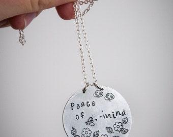 Peace of mind necklace with handmade medallion, leaves, flowers, bee, clouds, envraved pendant and long chain, gift ideas for nature lovers