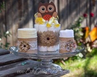 Burlap Owl Diaper Cake, Baby Shower Decoration or Gift Idea, Flannel Blanket Cake