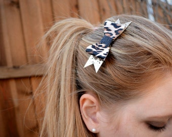 Black and Gold Leopard Print Hair Bow
