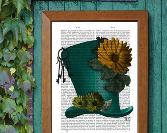 Green Hat & Flowers  Mad Hatter Top Hat bookworm gift for book lover gift literary art book nerd Library décor Library print literary poster