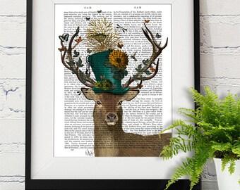 Alice in Wonderland Decoration - The Mad Hatter Deer Print - Deer illustration deer Print UK seller only tea party Alice in wonderland print