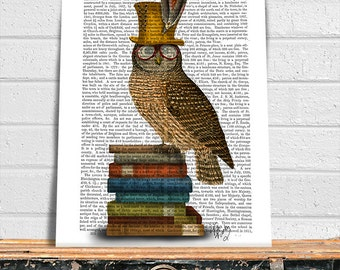 Owl Art - Owl on Books - Owl picture Owl Painting Book lover gift book nerd Library décor library print gift for teacher owl top hat print