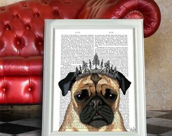 Tiara Pug Print - pug art pug art print pug gift gift for pug lover funny animal gift for dog lover dog gift idea funny dog art best friend