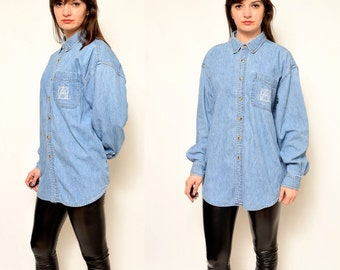 Vintage 90's Blue Denim Shirt / Long Sleeve Jean Button Shirt - Size Large