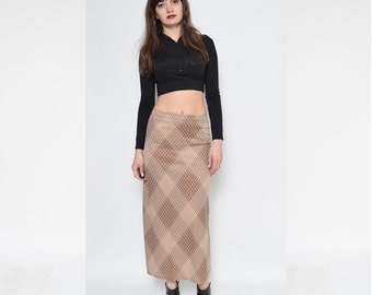 Vintage 90's Brown Maxi Long Skirt