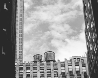 Windows, Water towers and Sky, New York City // Black and White Fine Art Photography // Photo Print