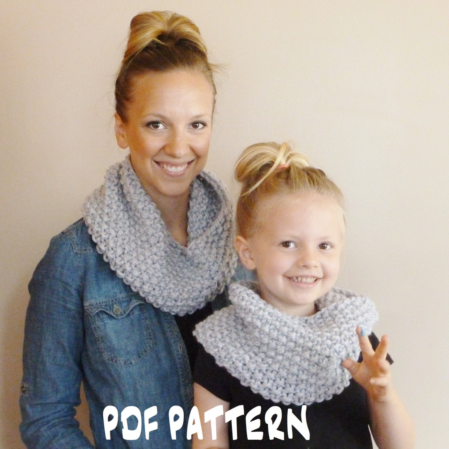 Knitted Cowl Pattern For Toddler : Knitting PATTERN Mommy and Me Cowls Toddler Child Adult