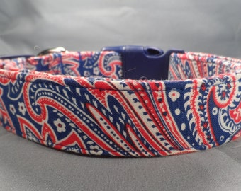 Red White and Blue Traditional Paisley Dog Collar