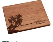 Palm Tree Personalized Cutting Board, Island Design, 11x16 or 9x12, Personalized Wedding Gift,Bamboo,Custom Cutting Board, Wedding Gifts