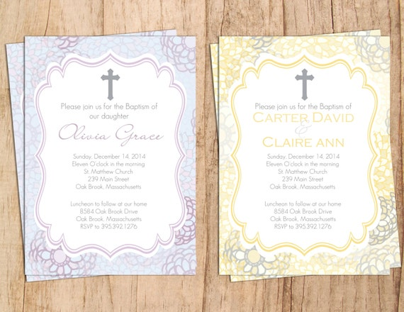 Modern baptism invitation jpeg or pdf file invitation like this item stopboris Image collections