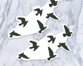 Flock of flying birds silhouette temporary tattoo (Each set = 6 birds)