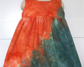 SAMPLE SALE: Mira dress from hand-dyed, upcycled fabric for girls, size 2-3T