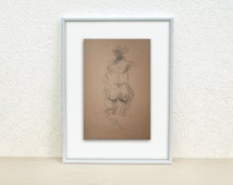 Nude sketch. Sketch of a woman. Female nude. Charcoal drawing. Womans back. Original sketch. Nude.