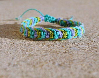 Lilac, Teal, and Lime Green Fishbone Hemp Bracelet