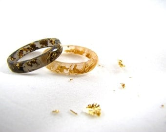 Black and White Stacking Resin Rings with Gold Flakes
