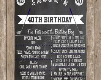 Sports Lover Custom Chalkboard Printable Birthday Sign - Milestone Birthday