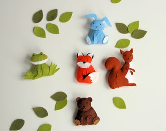 pattern felt ornaments, 5 animals, woodland mobile diy, crib mobile DIY, wool felt pattern, squirrel, fox, frog, bunny, bear,