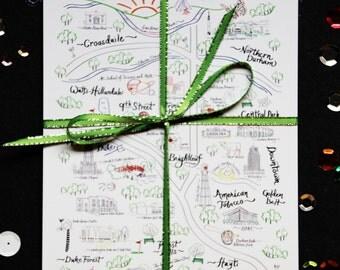 "Durham Map Postcard 5""x7"" (set of 5)"