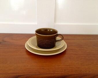 1 STAVANGERFLINT NORWAY tea cup, saucer and side plate / Inger Waage Norway Flamingo series / brown mustard