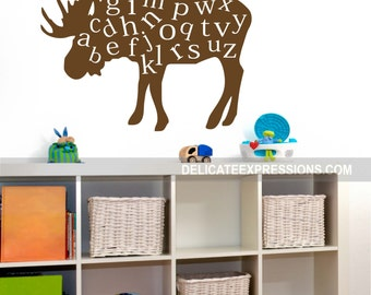 Alphabet Wall Decal, ABC Playroom Wall Decal, Moose Wall Decal Vinyl Lettering, Childrens Decor Vinyl Decal, Kids Vinyl Wall Art