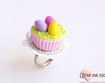 Mini Food Easter Cupcake Ring, Food Jewelry, Cupcake Ring, Easter Ring, Kawaii Ring, Polymer Clay Food, Easter Gift, Festive Ring