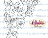 Digital Stamp - Roses Corner 2 - Instant Download - Roses in Corner Arrangement - Floral Line Art for Cards & Crafts by Mitzi Sato-Wiuff