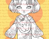 PNG Digital Stamp - Little Kitsune Anko Fancy Version - Japanese Kimono Fox Girl  - Fantasy Line Art for Cards & Crafts by Mitzi Sato-Wiuff