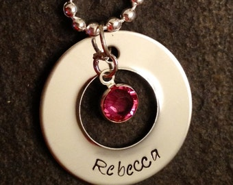 Personalized hand stamped name charm necklace with channel set Swarovski crystal