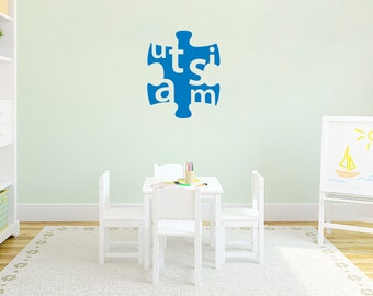 Large Autism Puzzle Piece Wall Art, Vinyl Decal Sticker