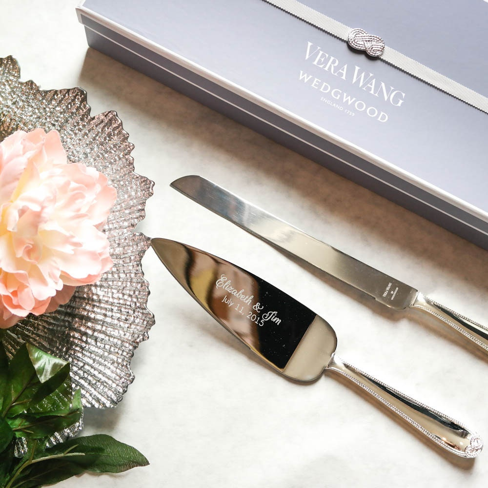 personalized vera wang infinity cake knife and server set