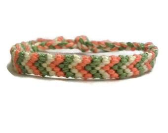 Peach, Green and Off White Chevron Pattern Embroidery Macrame Friendship Bracelet