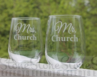 wedding wine glasses, stemless wine glasses, wedding wine glasses, etched wine glasses, personalized wine glasses, Set of 2,  Mr. & Mrs.