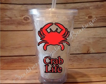 Crab Life, Commercial Fisherman, Blue Crab, Acrylic Tumbler, Tumbler