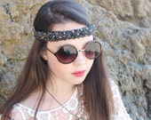 Black  beaded  headband  with elactic back  great accessory for your outfit