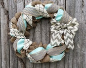 Spring Wreath, Burlap Wreath, Summer Wreath, Winter Wreath Year Round Wreath with Chevron Burlap Bow