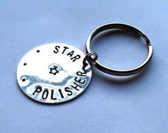 "Teacher's Gift, Silver ""Star Polisher"" Metal Stamped Keychain"