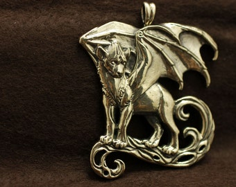 Winged Hyena bronze pendant necklace animal fantasy african demon spirit totem