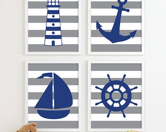 Nautical Art, Nautical Decor, Nautical Nursery Art, Nautical Nursery Decor, Nautical Prints, Room Kids Bath Art Sailboat Anchor Nursery Art