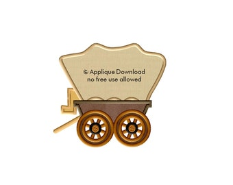 Chuck Wagon - 3 sizes - Western Applique Design - Instant EMAIL With Download