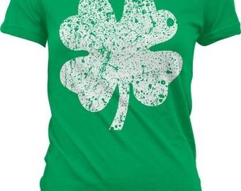 4 Leaf Clover Shirt, St. Patrick's Day! St Patricks Day, 4-Leaf Clover, Shamrock. St Paddys Junior and Women's Tshirts GH_00094