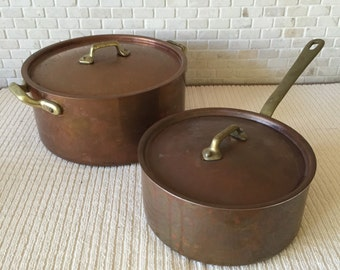 Heavy Vintage French Copper Pot Set of Covered Sauce Pan and Covered Pot