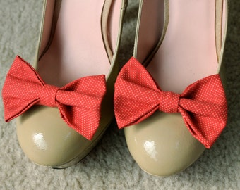 Red and White Dot Shoe Bows- Shoe Clips