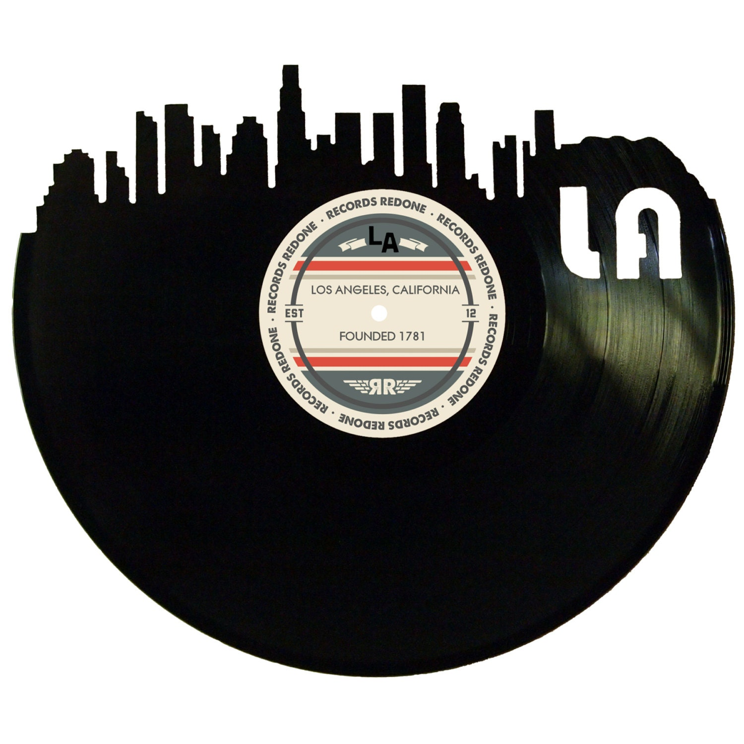 Los angeles skyline records redone label vinyl record wall art for Vinyl record wall art