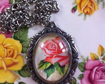 Vintage Rose Pendant -vintage inspired, necklace,jewellery, accessories, kitsch, pretty, floral,retro