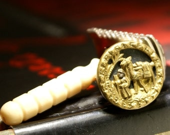 """Father's day tie tack. Amazing Circa 1870-1918 Antique Victorian """"Wise man & camel"""" brass and steel design. Magnetic tie tack/lapel pin"""