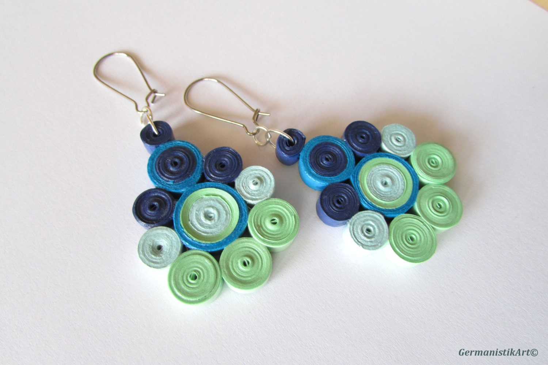 geometric blue green dangle paper earrings diy quilled paper