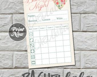 Bunco score card, Heart Flower, instant download, Buy 2 Get 1 FREE